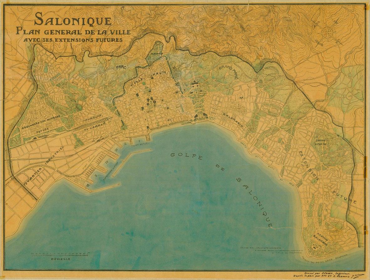 Χάρτης της Θεσσαλονίκης από την έκθεση «Θεσσαλονίκη 100+. Πόλη και Αρχιτεκτονική. Εκμοντερνισμοί και προσαρμογές».
