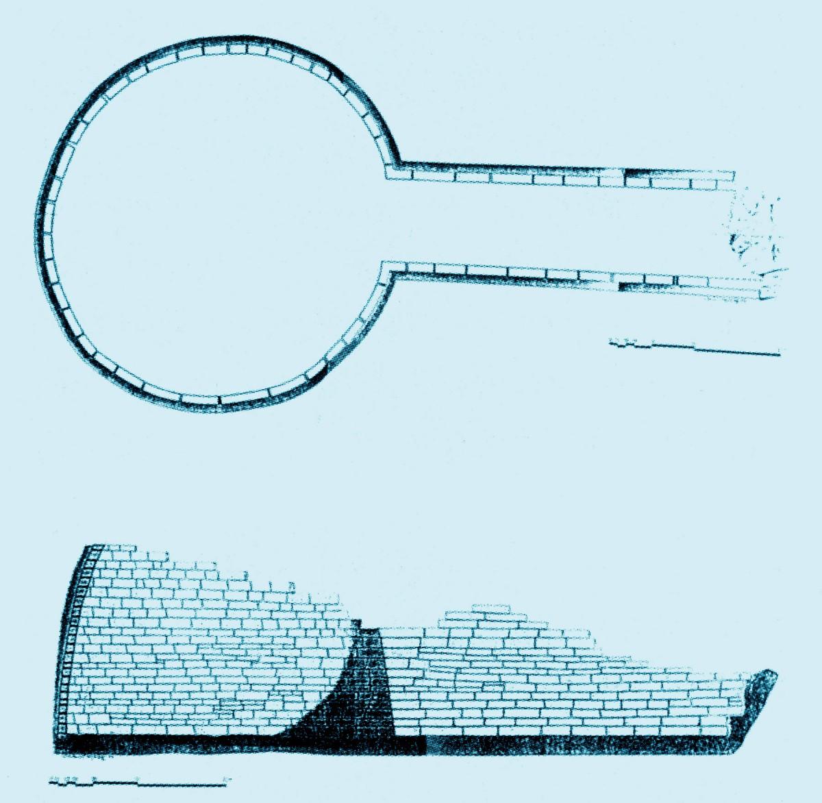 Εικ. 3. Σωζόμενη κάτοψη και τομή του θολωτού τάφου στην Κίπερη Πάργας. (Πηγή: Θ. Παπαδόπουλος)