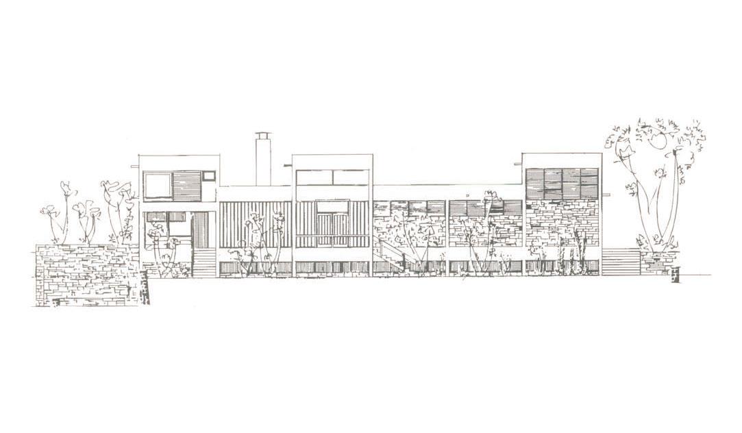 Τομή της δυτικής όψης του Αρχαιολογικού Μουσείου Ιωαννίνων. Σχέδιο του Άρη Κωνσταντινίδη.