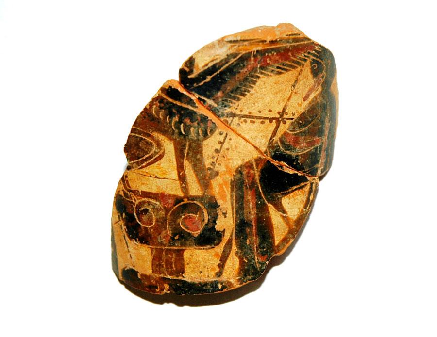 Εικ. 15. Τράπεζα: Τμήμα αττικής μελανόμορφης ληκύθου με παράσταση του Οιδίποδα με τη σφίγγα (500-475 π.Χ.). Τα πρωιμότερα ευρήματά του χρονολογούνται στα τέλη του 6ου αι.-αρχές του 5ου αι. π.Χ., συσχετίζονται κυρίως με αποσπασματικά κατάλοιπα ή προέρχονται από διαταραγμένα στρώματα από μεταγενέστερες επεμβάσεις.
