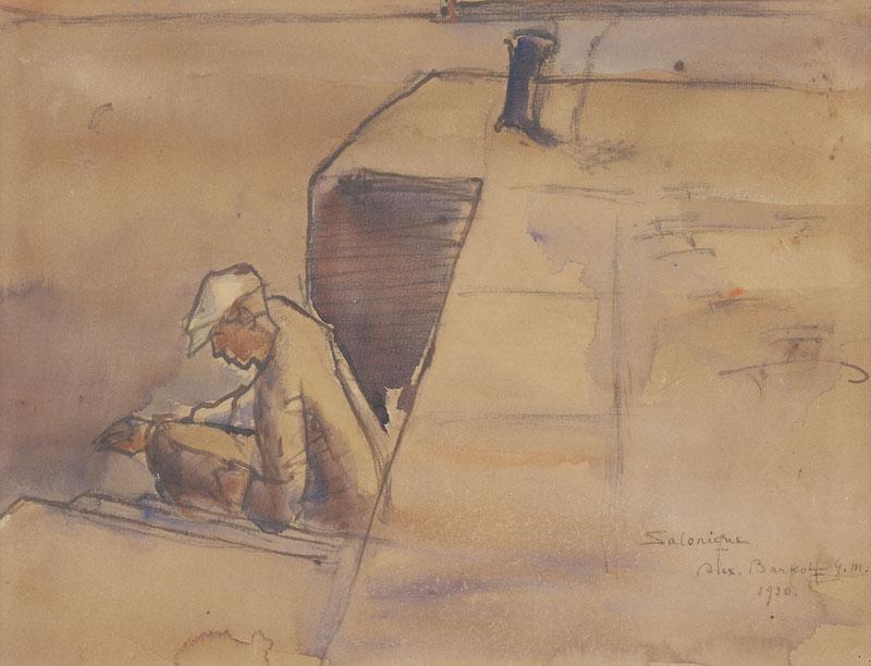 Αλέξανδρος Μπαρκόφ, «Άνδρας που ψαρεύει», 1930, υδατογραφία και μολύβι σε χαρτί, 23,4X31 εκ.