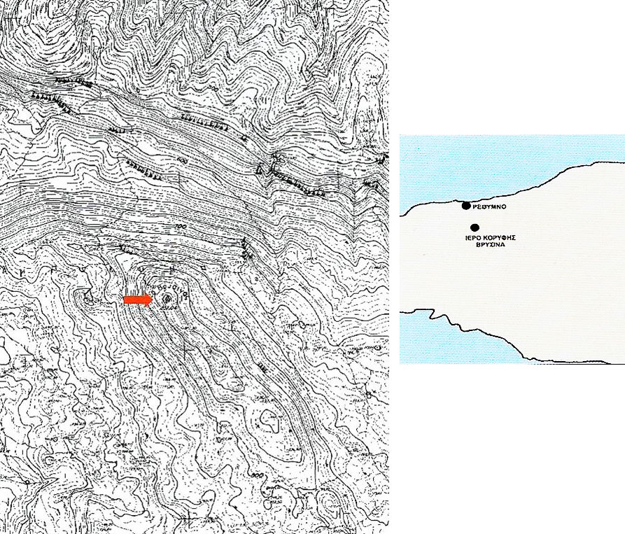 Εικ. 1. Χάρτης της περιοχής γύρω από το Ιερό Κορυφής του Βρύσινα, όπου έγιναν οι ανασκαφές.