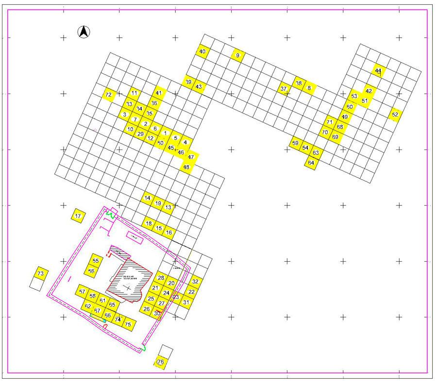 Εικ. 2. Κάνναβος που σχεδιάστηκε για τις ανάγκες της ανασκαφής το 2011. Με κίτρινο χρώμα σημειώνονται οι τομές που ανασκάφηκαν.