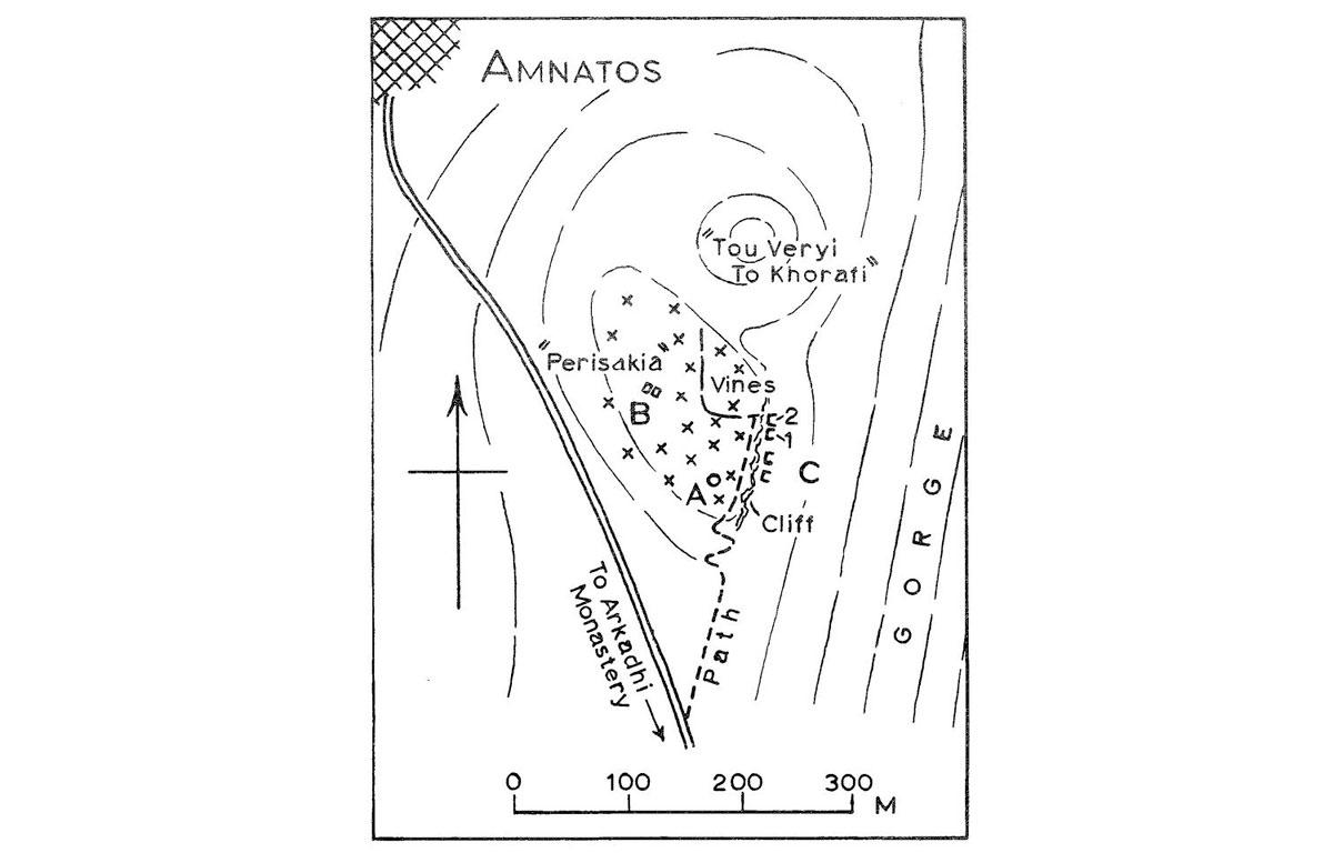 Εικ. 12. Τοπογραφικό σχέδιο του λόφου «Περισσάκια» (Hood κ.ά. 1962, εικ. 10).