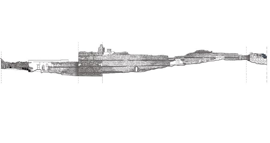 Εικ. 3. Πρωτότυπο σχέδιο αποτύπωσης τμήματος της όψης του τείχους από την πλευρά του Δήμου Συκεών.