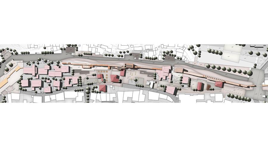 Εικ. 6. Πρωτότυπο σχέδιο γενικής οργάνωσης της πρότασης για την ανάδειξη του μνημείου και της ευρύτερης περιοχής.
