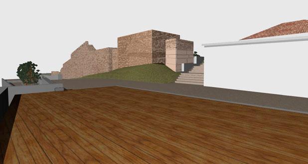 Εικ. 9. Τρισδιάστατη απεικόνιση των τειχών, όπου διακρίνεται το πλάτωμα που δημιουργείται μπροστά από τον πύργο. Πηγή: Πρωτότυπο.