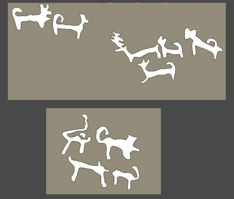 Παράσταση με κυνήγι ελαφιών από τσακάλια στον φυσικό βράχο, βόρεια του τείχους του Στρόφιλα.