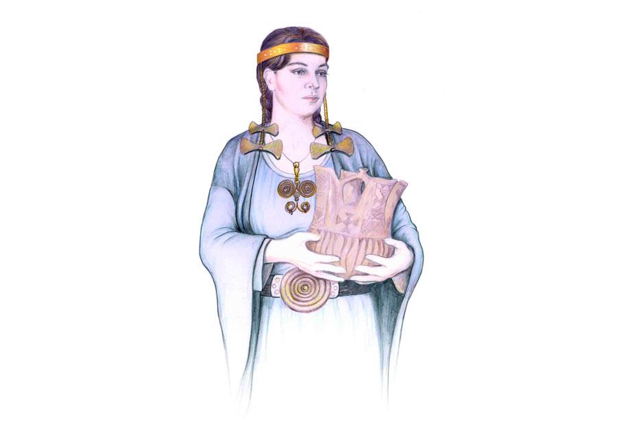Σχεδιαστική αναπαράσταση των κοσμημάτων του κεφαλιού και του σώματος της «ιέρειας», έτσι όπως βρέθηκαν στον τάφο αρ. 25 του Τύμβου IV στη Νεκρόπολη της Εποχής του Σιδήρου στον Άγιο Παντελεήμονα Αμυνταίου (φωτ.: ΚΘ' ΕΠΚΑ).