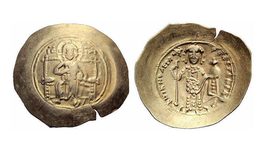 Εικ. 2. Ιστάμενον του Νικηφόρου Γ΄ Βοτανειάτου, 1078-1081, Ιδιωτική Συλλογή. Κατά τη βασιλεία του σημειώνεται το ναδίρ της καθαρότητας σε πολύτιμο μέταλλο του ισταμένου, στα 8-6 καράτια, το οποίο δεν είναι πλέον κίτρινο νόμισμα.