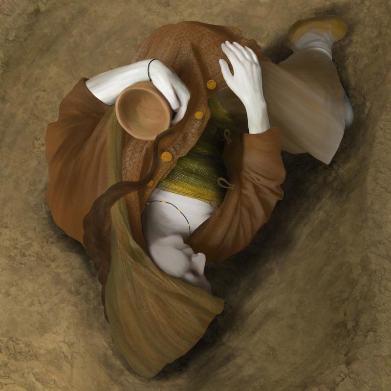 Αναπαράσταση γυναικείας ταφής που βρέθηκε στο Ουίνδσορ (περ. 2400 π.Χ.).