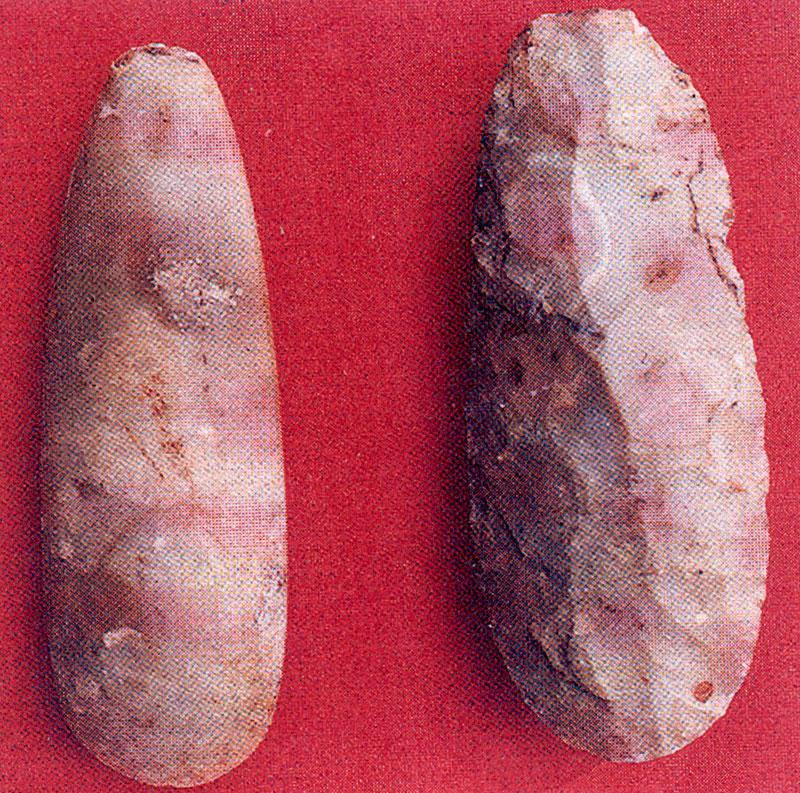 Εικ. 14. Ημιτελής λαξεμένος πέλεκυς από πυριτόλιθο (δεξιά) και τελειωμένος λειασμένος πέλεκυς από το Grand-Pressigny (φωτ. J-M. Millet, από οδηγό της περιοχής).