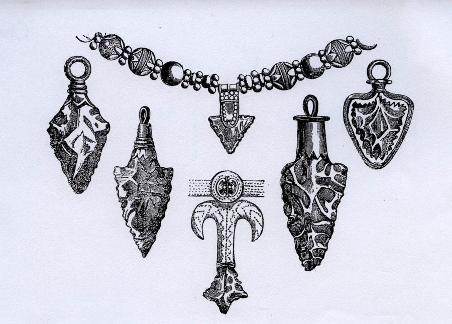 Εικ. 16. Λίθινες προϊστορικές αιχμές βελών διαφόρων εποχών και περιοχών οι οποίες τροποποιημένες σε κοσμήματα χρησίμευαν ως φυλακτά (Καββαδίας 1909, σ. 20, εικ. 3).