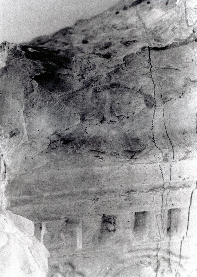 Εικ. 20. Ανεξέλεγκτες κογχοειδείς αποκρούσεις στην επιτύμβια στήλη της Νικοστράτας από λευκό ασβεστόλιθο (Λ87, Μουσείο Ήλιδος).