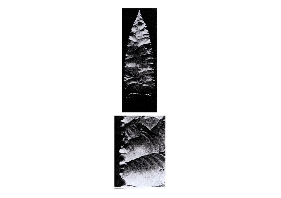 Εικ. 22. Εθνογραφικό παράδειγμα αιχμής με ακιδωτή απόληξη από το οροπέδιο του Κίμπερλι στη Δ. Αυστραλία, έργο των αυτοχθόνων Αβοριγίνων. Είναι από γυαλί και η επεξεργασία της, αρκετά κανονική, έγινε με ξύλινο συμπιεστή (Crabtree 1970, σ. 149, εικ. 3c).