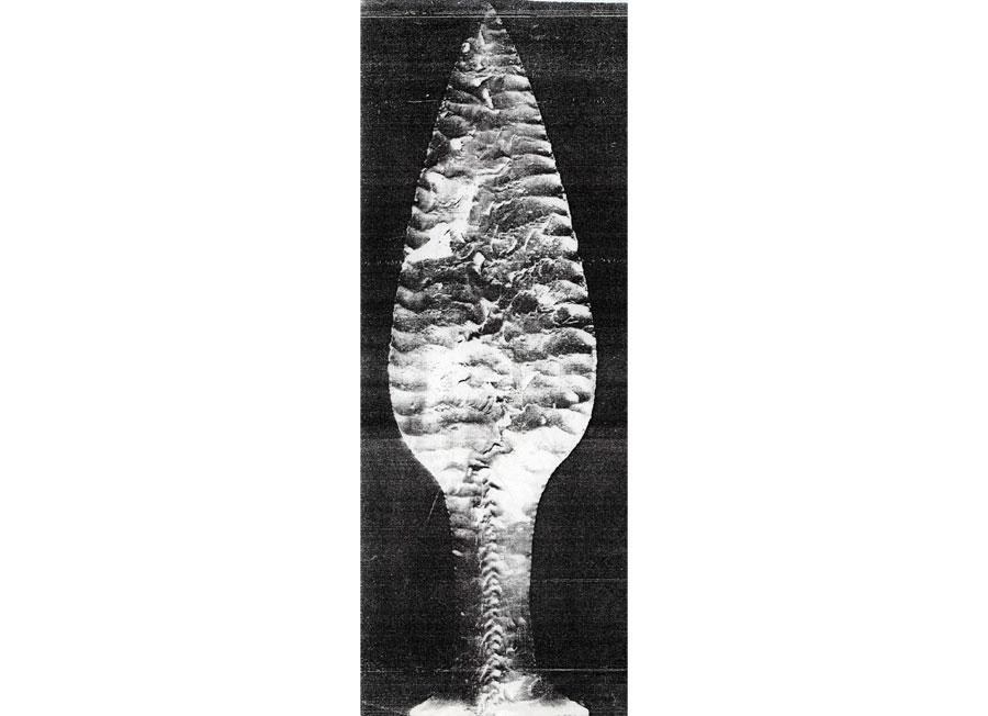 Εικ. 16. Εγχειρίδιο από πυριτόλιθο της Εποχής του Χαλκού (μέσα της 2ης χιλιετίας π.Χ.) από το Hindsgavl της Δανίας (Sandars 1968, εικ. 181).