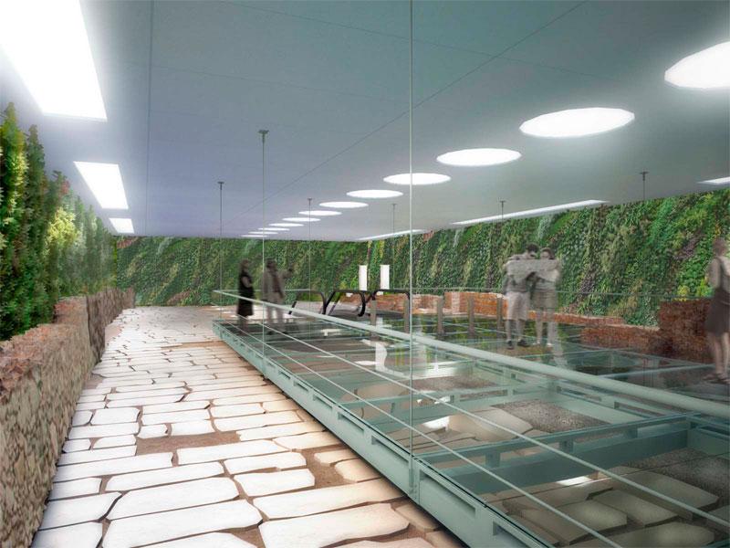 Εικόνα από την πρόταση του ΤΕΕ/Τμήμα Κεντρικής Μακεδονίας για την ανάδειξη των αρχαιοτήτων που αποκαλύφθηκαν στον σταθμό Βενιζέλου του μετρό Θεσσαλονίκης (φωτ. ΤΕΕ/ΤΚΜ).