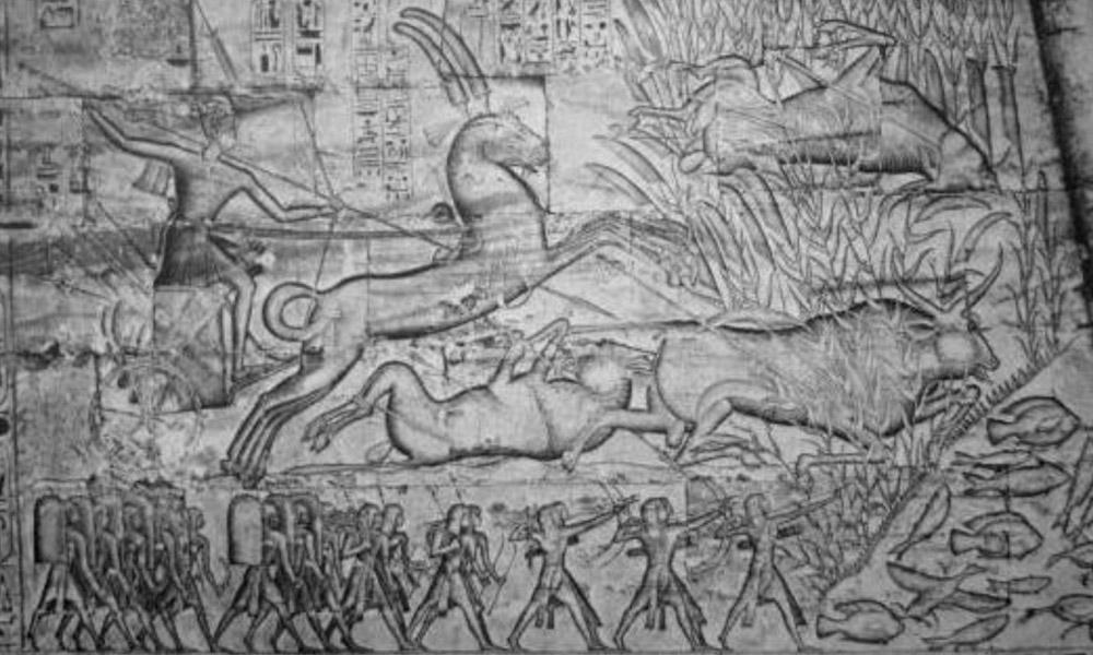 Ο Ραμσής Γ΄και οι γιοί του σε κυνήγι. Ναός Μεντίνετ Χάμπου.