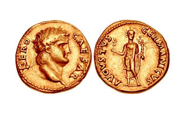 Εικ. 1. Νέρων (54-68), Aureus (χρυσό νόμισμα), έκδοση 65-66 μ.Χ. μετά τη νομισματική μεταρρύθμιση. Αντί για 40 aurei από κάθε ρωμαϊκή λίβρα (ουγκιά) έκοβαν πλέον 45 και το νόμισμα είναι λιποβαρές σε σχέση με τα νομίσματα πριν και ζυγίζει 7,30 γραμμ. CNG, Triton XVI, 9.01.2013, 1046.