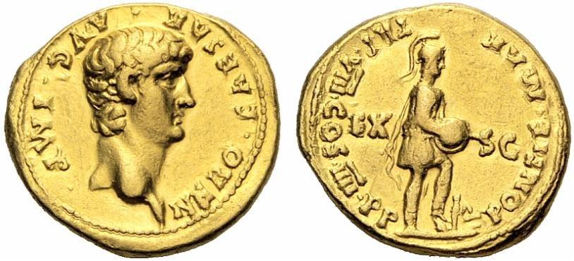 Εικ. 2. Νέρων (54-68), Aureus (χρυσό νόμισμα), έκδοση 61-62 μ.Χ., πριν τη νομισματική μεταρρύθμιση. Παρότι το νόμισμα είναι φθαρμένο, ζυγίζει 7,70 γραμμ. Rauch, 91, 5.12.2012, 291.