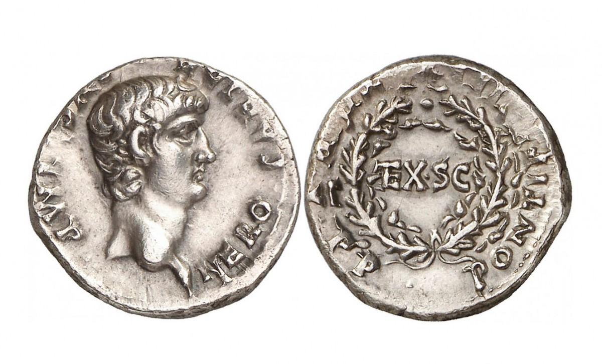 Εικ. 3. Νέρων (54-68), Δηνάριο (ασημένιο νόμισμα), έκδοση 58-59 μ.Χ., πριν τη νομισματική μεταρρύθμιση. Ζυγίζει 3,84 γραμμ. και η καθαρότητα αργύρου είναι 99,5%. Baldwin's, The New York Sale XXX, 9.1.2013, 272.