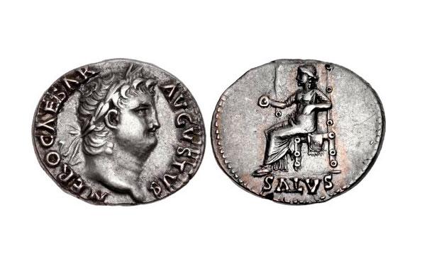 Εικ. 4. Νέρων (54-68), Δηνάριο (ασημένιο νόμισμα), έκδοση 65-66 μ.Χ., μετά τη νομισματική μεταρρύθμιση. Αντί για 84 δηνάρια από κάθε ρωμαϊκή λίβρα (ουγκιά) έκοβαν πλέον 96, η καθαρότητα αργύρου από 99,5% κατέβηκε σε 93,5%. Έτσι έκοβαν με την ίδια ποσότητα μετάλλου περί τα 15% περισσότερα νομίσματα. Το δηνάριο ζυγίζει 3,49 γραμμ. CNG, Triton XVI, 9.01.2013, 1047.