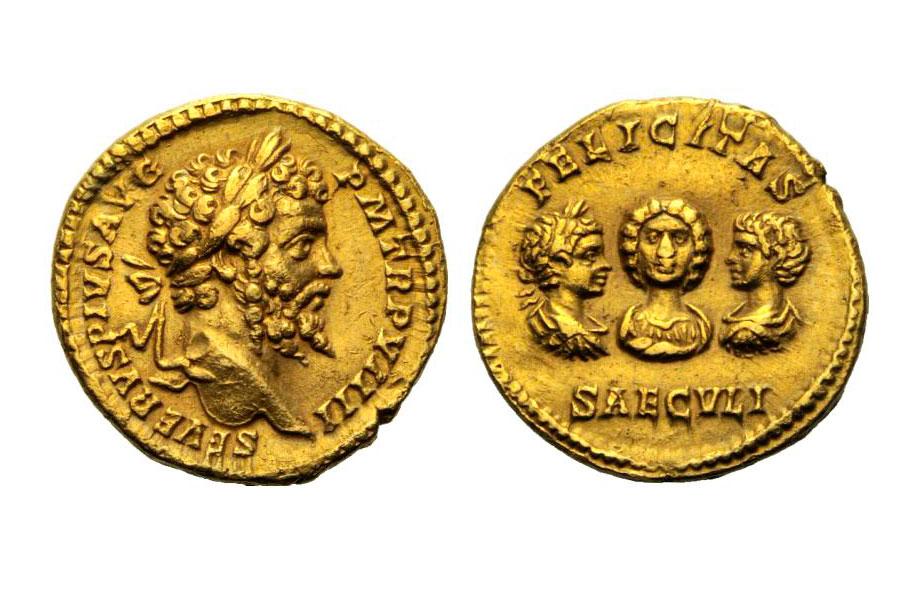 Εικ. 5. Σεπτίμιος Σεβήρος (193-211), Aureus, έκδοση 201. Απεικονίζεται όλη η αυτοκρατορική οικογένεια. Στην εμπρόσθια όψη ο αυτοκράτορας και στην οπίσθια η σύζυγός του Ιουλία Δόμνα και τα δύο του τέκνα, Γέτας και Καρακάλλας. Βάρος 7,17 γραμμ. Η καθαρότητα του μετάλλου και το βάρος των χρυσών νομισμάτων δεν είχε αλλάξει από την εποχή του Νέρωνος. ArtCoins Roma 6, 10.12.2012, 1027.