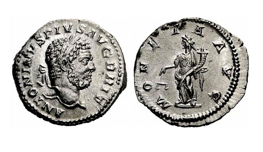 Εικ. 6. Καρακάλλας (198-217). Δηνάριο, 210-213, πριν τη νομισματική μεταρρύθμιση του 215. Βάρος, 3,61 γραμμ. Το δηνάριο είχε ήδη υποστεί υποτίμηση επί Σεπτίμιου Σεβήρου. Βάρος, 5,46 γραμμ. Rauch 91, 5.12.2012, 508.