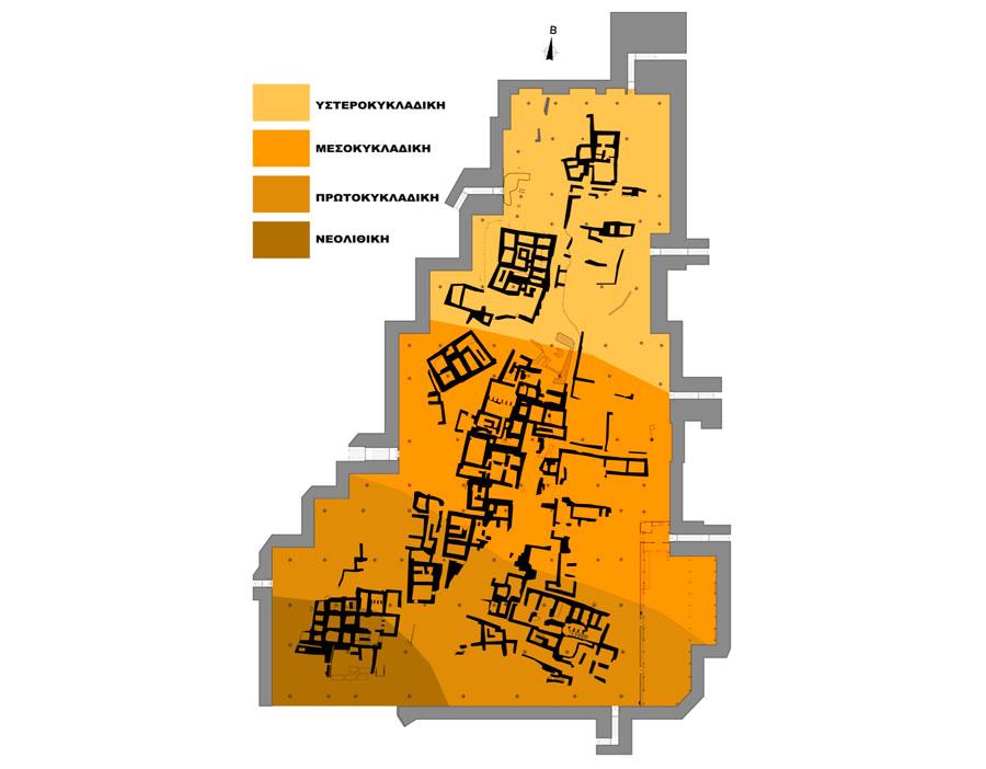 Κάτοψη του οικισμού του Ακρωτηρίου με τις ενδεικτικές φάσεις ανάπτυξής του.