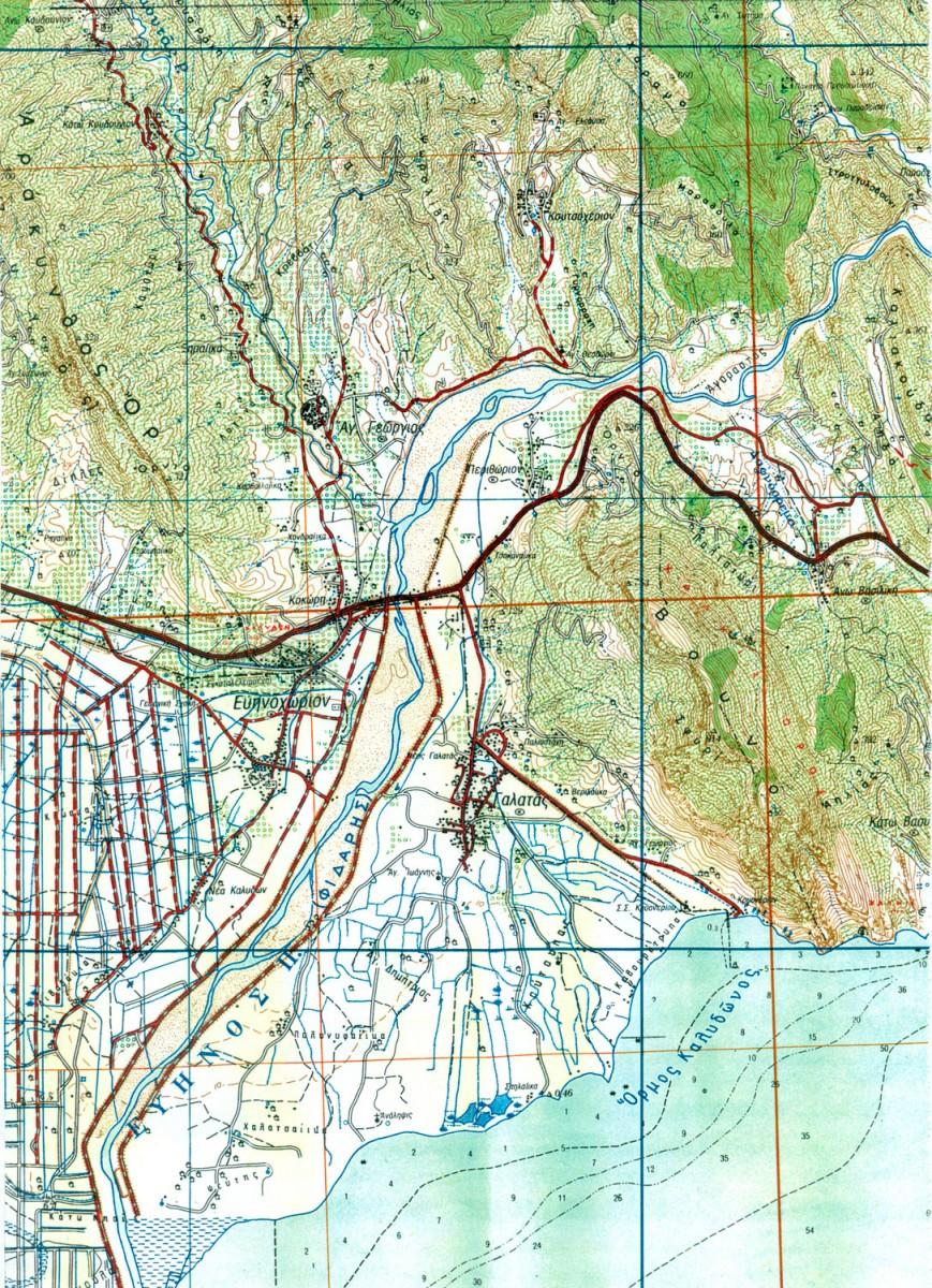 Χάρτης τμήματος της παράλιας Αιτωλίας (Γ.Υ.Σ.  Κλίμ. 1:50000).
