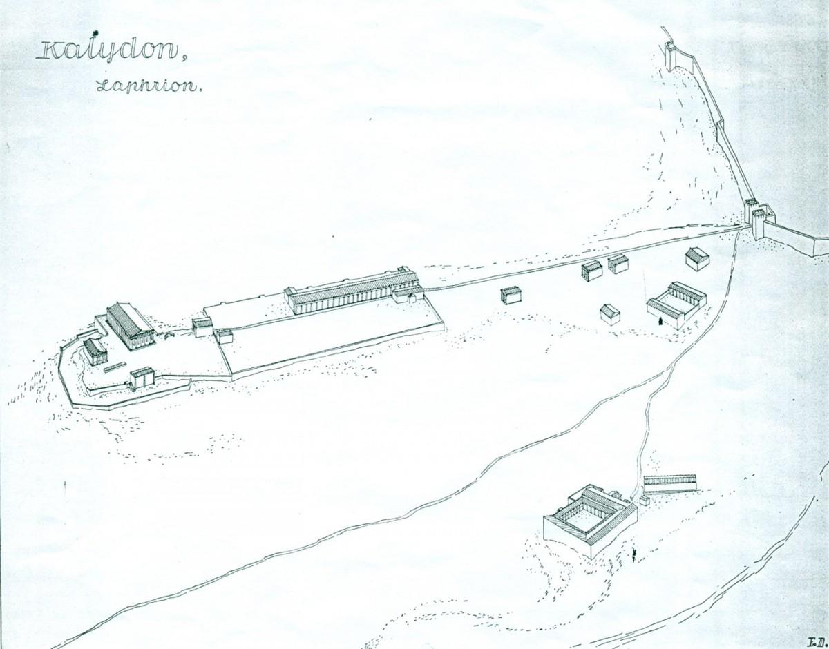 Πίν. 3. Αναπαράσταση των κτισμάτων του Λαφριαίου Ιερού Καλυδώνος (Ε. Dyggve, Das Laphrion…, πίν. xxxv).