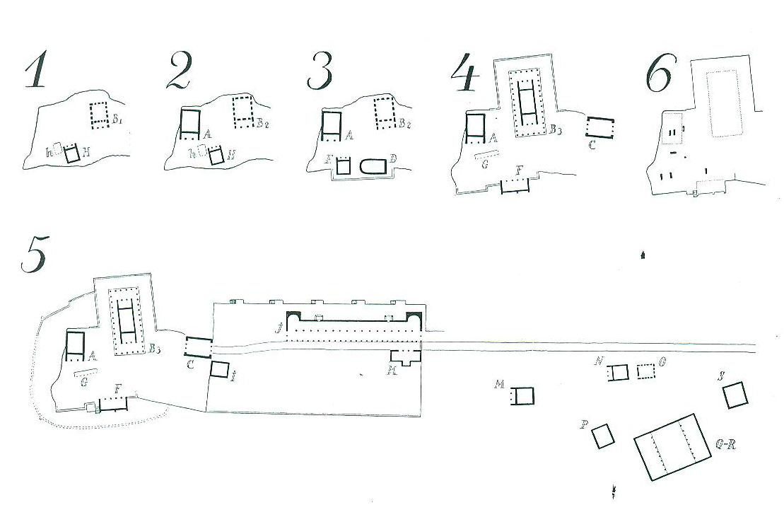 Πίν. 4. Διαδοχικές φάσεις ανοικοδόμησης των κτισμάτων του Λαφριαίου Ιερού Καλυδώνος (Ε. Dyggve, Das Laphrion…, πίν. XXXIX).