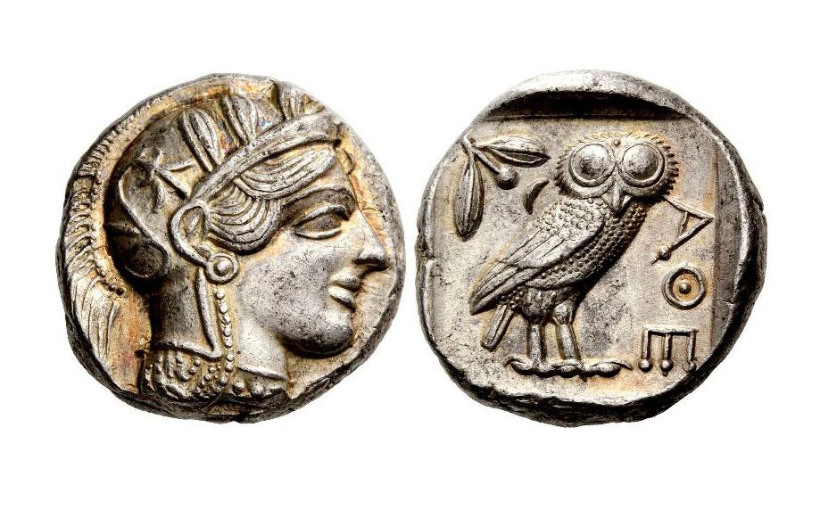 Εικ. 1. Αθήνα, αργυρό τετράδραχμο, χρονολογία κοπής: 454-404 π.Χ. Nomos AG, Auction 5 (25/10/2011), αρ. 162 (17,20 γρ.).