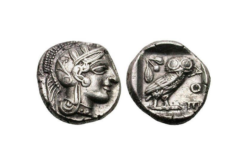 Εικ. 2. Αθήνα, αργυρή δραχμή, χρονολογία κοπής: 454-404 π.Χ. Gemini LLC, Auction VII (9/1/2011), αρ. 375 (4,29 γρ.).