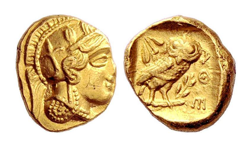 Εικ. 3. Αθήνα, χρυσή δραχμή, χρονολογία κοπής: 407/6 π.Χ. Numismatica Ars Classica, Auction 66 (17/10/2012), αρ. 46 (4,30 γρ.).