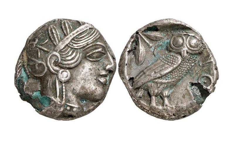 Εικ. 4. Αθήνα, υπόχαλκο τετράδραχμο, χρονολογία κοπής: 406/5 π.Χ. LHS Numismatik AG, Auction 103 (5/5/2009), αρ. 88 (12,12 γρ.).