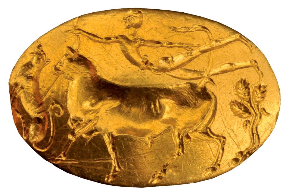 Χρυσό μυκηναϊκό σφραγιστικό δακτυλίδι, β' μισό 15ου αι. π.Χ. - αρχές 14ου αι. π.Χ. Εθνικό Αρχαιολογικό Μουσείο, Αθήνα.
