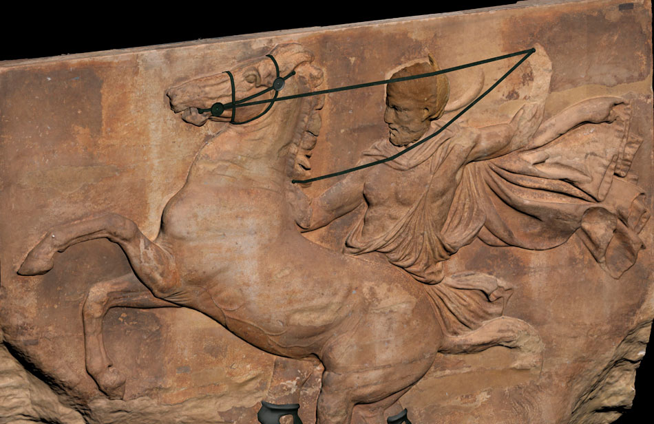 Ο ιππέας με το ατίθασο άλογο στο μέσο της δυτικής ζωφόρου. Αναπαράσταση των χάλκινων χαλινών. Μουσείο Ακρόπολης.