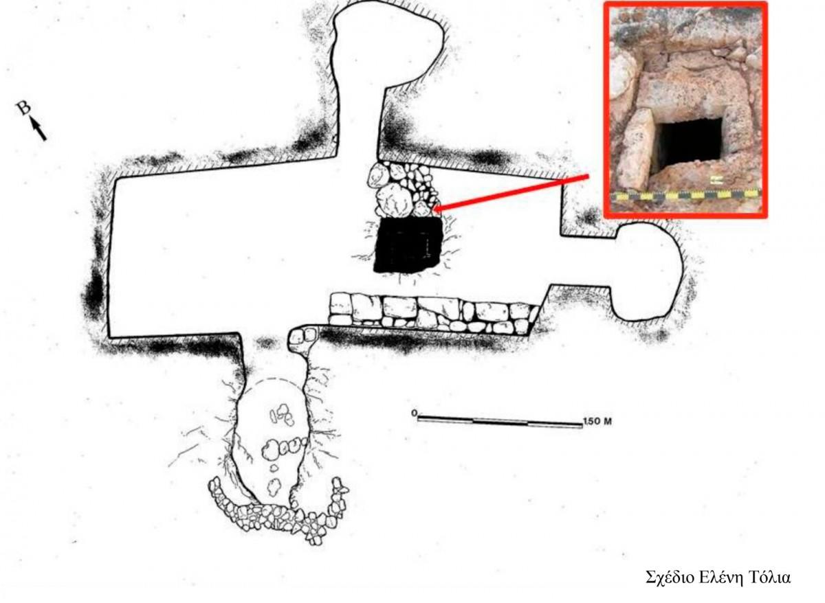 Εικ. 36. Κάτοψη της «Φυλακής». Στο πλαίσιο φαίνεται η έξοδος του φεγγίτη στην επιφάνεια του εδάφους.