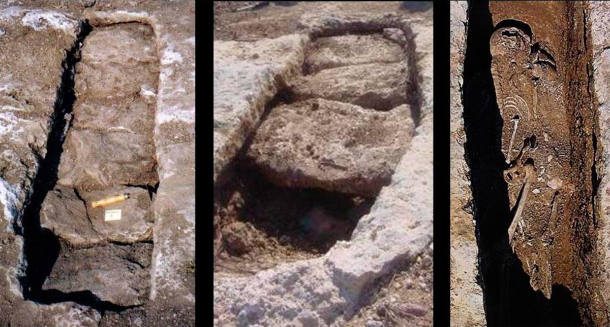 Εικ. 48. Τάφοι του 7ου αι. μ.Χ. στον παλαιοχριστιανικό οικισμό των Χαρχαλιανών. Οι τάφοι δεν ήταν οργανωμένοι σε νεκροταφείο, αλλά σε ομάδες στην περιοχή της οικίας κάθε οικογένειας. Σε κάθε τάφο θάβονταν περισσότεροι του ενός νεκροί χωρίς να απομακρυνθούν τα οστά των προηγούμενων ταφών. Χαρακτηριστικός είναι ο τρόπος κάλυψης των τάφων με λίθινες πλάκες που τοποθετούνται σε οριζόντιο αυλάκι και σφραγίζονται με λίθινη σφήνα. Δεν έχουν κτερίσματα. Τα λίγα μεταλλικά αντικείμενα που βρέθηκαν ανήκαν στο ρουχισμό ή στα κοσμήματα που φορούσε ο νεκρός (ή η νεκρή).