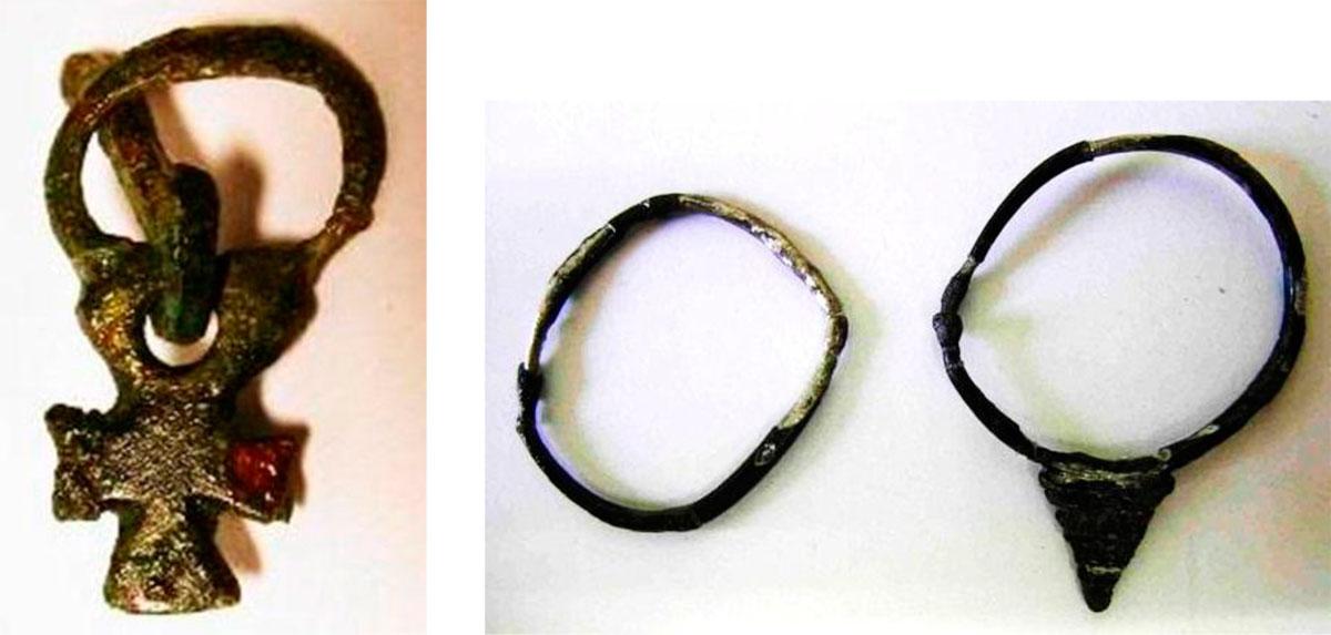 Εικ. 49. Χάλκινη πόρπη και ασημένια σκουλαρίκια (ενώτια) του 7ου αι. π.Χ. που βρέθηκαν στους τάφους στα Χαρχαλιανά.