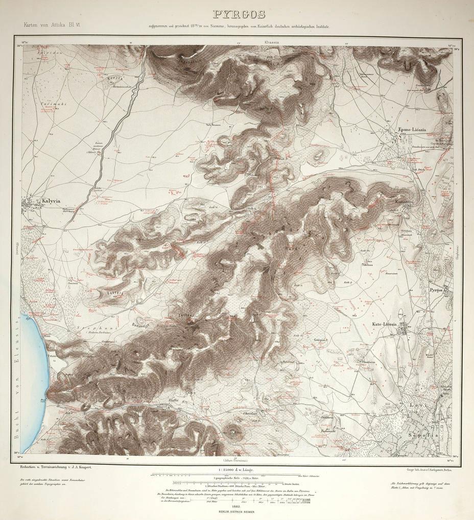 Εικ. 7. Απόσπασμα χάρτη του Kaupert με την περιοχή του Ασπροπύργου, όπου διακρίνονται καθαρά και οι δύο λίμνες των Ρειτών (Universitätsbibliothek Heidelberg).