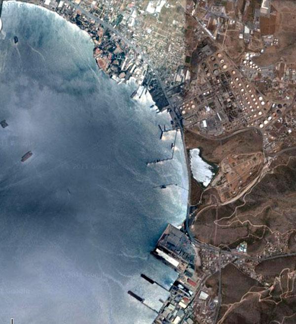 Εικ. 8. Λεπτομέρεια από δορυφορική φωτογραφία της περιοχής της λίμνης από ηλεκτρονικό χάρτη του Ελληνικού Κτηματολογίου Α.Ε.