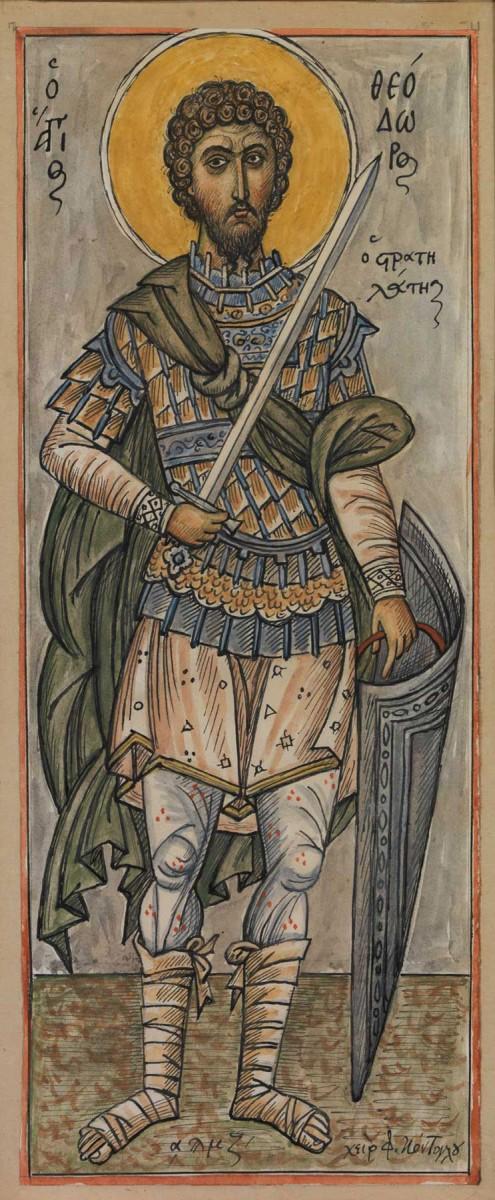 Φώτης Κόντογλου, Ο άγιος Θεόδωρος ο Στρατηλάτης, 1947-1948, Ακουαρέλα και µελάνη σε χαρτί, Ιδιωτική συλλογή, Αθήνα