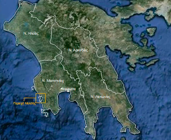 Εικ. 1. Η περιοχή του Όρμου του Ναβαρίνου στο Νομό Μεσσηνίας. Πηγή: Google Earth (6.1.2012) και ιδία επεξεργασία.