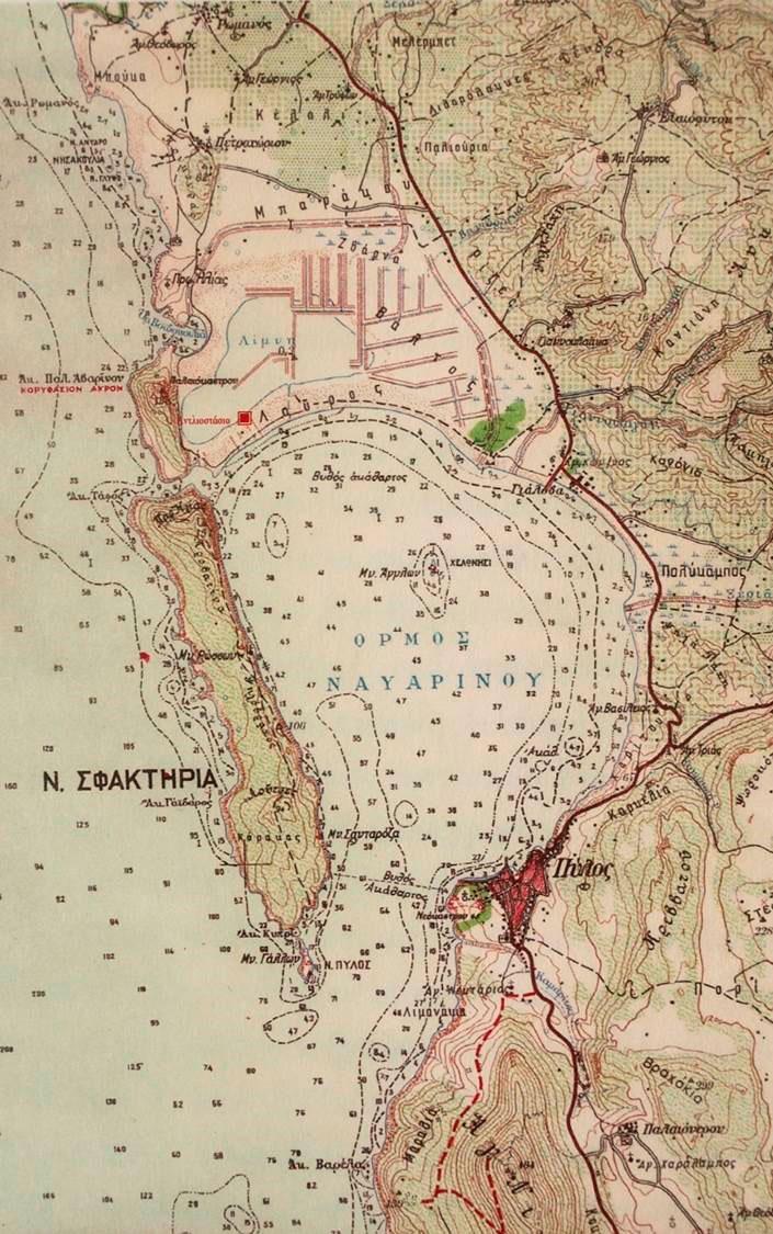 Εικ. 2. Χάρτης της περιοχής του Όρμου του Ναβαρίνου. Πηγή: Ι. Καρυωτάκη, Μετατροπή, Αντλιοστάσιο, Γιάλοβα, εκδ. Ροδακιό, Αθήνα 2005.