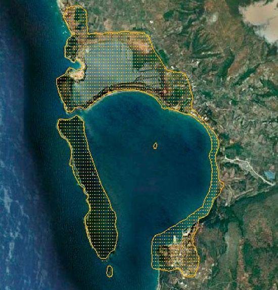 Εικ. 3. Οριοθέτηση της περιοχής μελέτης. Πηγή: Google Earth (6.1.2012) και ιδία επεξεργασία.