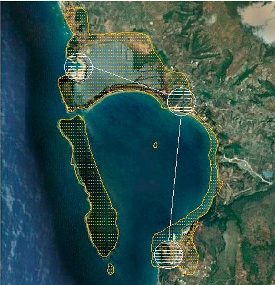 Εικ. 6. Οι προτεινόμενοι τρεις κύριοι κόμβοι του δικτύου περιβαλλοντικού και πολιτιστικού ενδιαφέροντος. Πηγή: Google Earth (21.2.2012) και ιδία επεξεργασία.