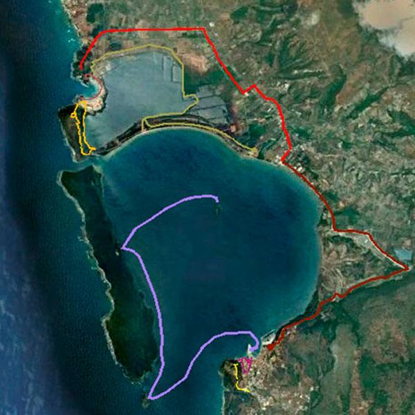 Εικ. 8. Το προτεινόμενο δίκτυο περιβαλλοντικών και πολιτιστικών διαδρομών. Πηγή: Google Earth (4.3.2012) και ιδία επεξεργασία.