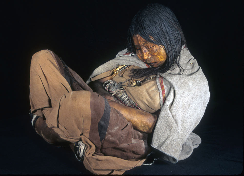 Mummy of a 15 year old found in  Llullaillaco, in the Argentinian -Chillean border.
